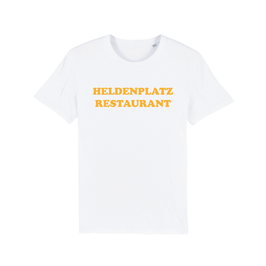 """WHITE """"HELDENPLATZ RESTAURANT"""" T-SHIRT GELB"""