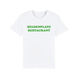"""WHITE """"HELDENPLATZ RESTAURANT"""" T-SHIRT GRÜN"""