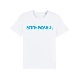 "WHITE ""STENZEL"" T-SHIRT BLAU"