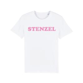 """WHITE """"STENZEL"""" T-SHIRT BABY PINK"""