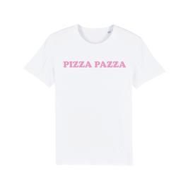"WHITE ""PIZZA PAZZA"" T-SHIRT BABY PINK"