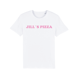 "WHITE ""JILL'S PIZZA"" T-SHIRT BABY PINK"