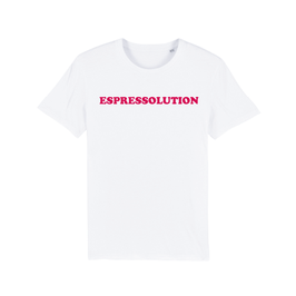 "WHITE ""ESPRESSOLUTION"" T-SHIRT ROT"