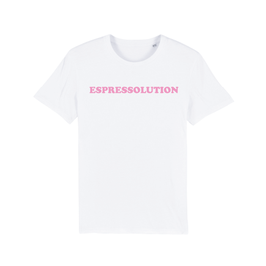 "WHITE ""ESPRESSOLUTION"" T-SHIRT BABY PINK"