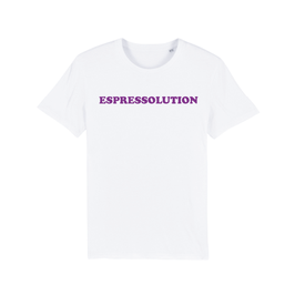 "WHITE ""ESPRESSOLUTION"" T-SHIRT LILA"