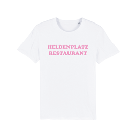 "WHITE ""HELDENPLATZ RESTAURANT"" T-SHIRT BABY PINK"