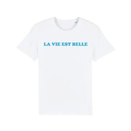 """WHITE """"LA VIE EST BELLE"""" T-SHIRT BLAU"""