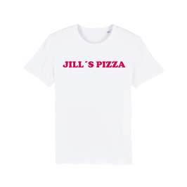 "WHITE ""JILL'S PIZZA"" T-SHIRT ROT"