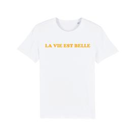"""WHITE """"LA VIE EST BELLE"""" T-SHIRT GELB"""