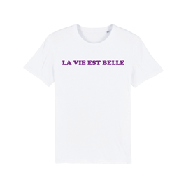 """WHITE """"LA VIE EST BELLE"""" T-SHIRT LILA"""