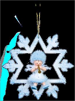 Schneeflöckchen mit Trompete im Schneekristall