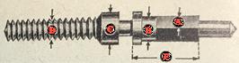DCN 898 Aufzugwelle (Winding Stem) 15 ´´´ Valjoux GH brac. chronograph (Valjoux 22 GH? 15 ´´´ ) Gewinde 1,5 mm - NOS (New old Stock)