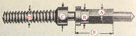 DCN 2771 Aufzugwelle (Winding Stem) 15 1/2 ´´´ Hanhart 40/42 AU Chronograph - NOS (New old Stock)