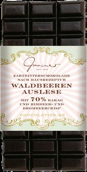 Waldbeerenauslese - 100 g. Zartbitterschokolade mit Brombeeren (6 %) & Himbeeren (2 %) und Kakao: 70 % mindestens