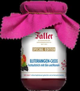 Faller Konfitüren - Blutorangen-Cassis Fruchtaufstrich mit Gin und Rosmarin 235g