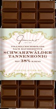 Schwarzwälder Tannenhonig - 100 g. Vollmilchschokolade mit Honiggeschmack und Kakao: 38 % mindestens