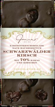 Schwarzwälder Kirsch - 100 g. handgeschöpfte Edelbitterschokolade mit Kirschen, gerösteten Haselnüssen und einem Hauch Kirschwasser