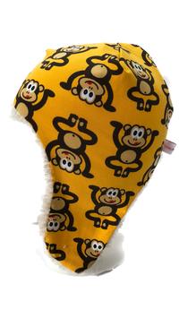 Fliegermütze Yoga Affe gelb  (F84)