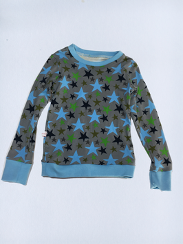 Shirt Sterne blau grün auf grau (T65/5)