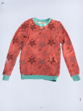Pulli / Hoodie Sterne auf Koralle  (H10/14)