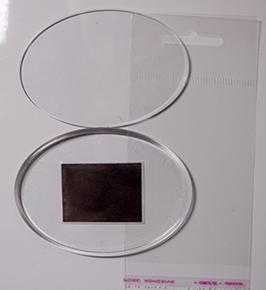27. Заготовка акрилового магнита овальная прозрачная 85х63мм.