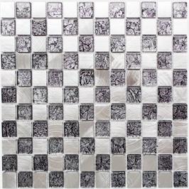 Modern-Mix Mosaik mix schwarz mit silber 4mm h10364 und 8mm h10366