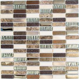 Artificial Mosaik mix beige braun silber schwarz h10884