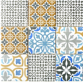 Retro Mosaik mix creme blau orange grau PORTO h10012