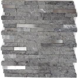Split face Mosaic grau mit Edelstahl h10500