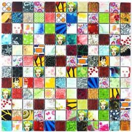 Retro Mosaik bunt h10023