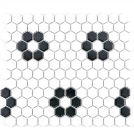 Hexa Mosaik weiß mit schwarz HX 030