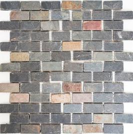 Schiefer Mosaik mix schwarz mit rost h10415