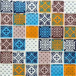Retro Mosaik mix weiß blau orange grau 8mm h10794 XCM 8OP2 oder 4mm h10798 CM 4OP12