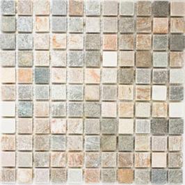 Quarz Mosaik mix beige mit grau h10406