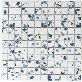Retro Mosaik mix weiß mit blau h10020 CG SB09 Strawberry