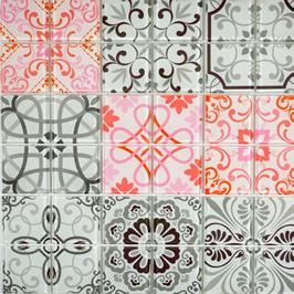 Qin Shi Mosaik Retro mix grau mit rot h10784