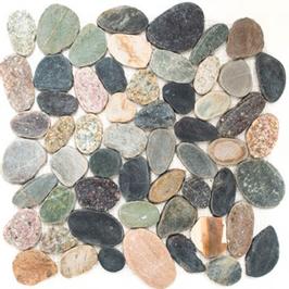 Pebble Mosaik mix weiß mit gelb h10401