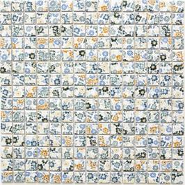 Retro Mosaik mix weiß mit Blumen h10019 CG SP06