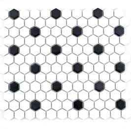 Hexa Mosaik weiß mit schwarz weiß mit schwarz HX 040