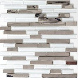 Modern-Mix Mosaik mix weiß klar mit silber h10368