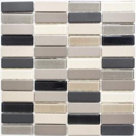 Architecture Mosaik mix hellbeige grau mit Keramik Glas h10285