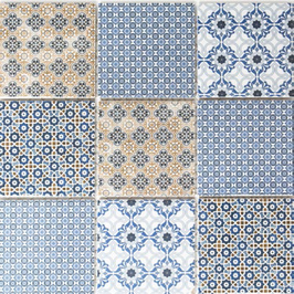 Retro Mosaik CLAM mix weiß blau orange grau
