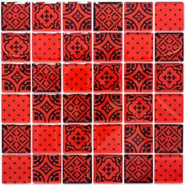 Retro Mosaik rot h10795