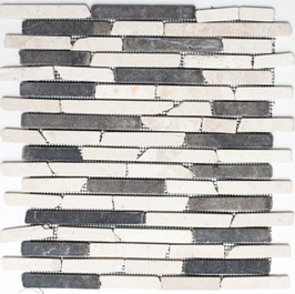 Bali Mosaik mix beige schwarz h10481 Riemchenmosaik / Stabmosaik