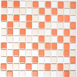 Classic Mosaik mix weiß creme terracotta h10168
