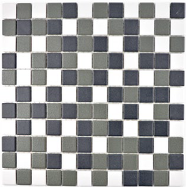 Antislip Mosaik mix schwarz weiß metall h10183 (für Duschböden geeignet)