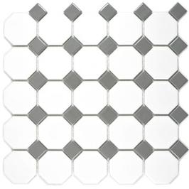 Octa Mosaik weiß mit metallgrau Octa G469