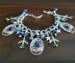 Bracelet Breloques Hotesse de l'Air