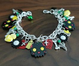 Bracelet Argent 925 Dia de Los Muertos, transformable en collier