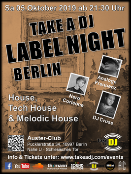 "EINTRITT für ""TAKE A DJ - LABEL NIGHT BERLIN"""